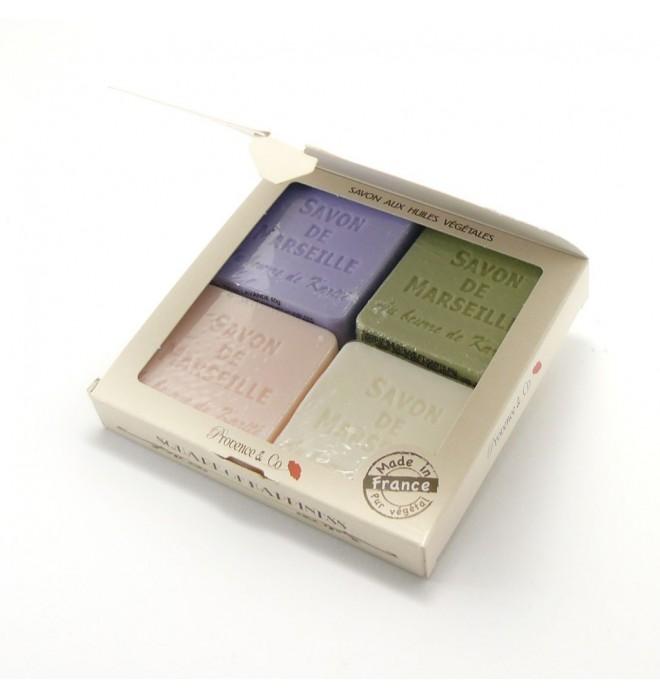 Marseillská přírodní mýdla v papírové krabičce - 4x 50 g - levandule ,růže,oliva,konvalinka