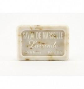 Marseillské přírodní mýdlo - 100 g- levandule s kousky květu - balené v celofánu