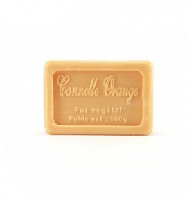 Marseillské přírodní mýdlo - 100 g- pomeranč-skořice - balené v celofánu