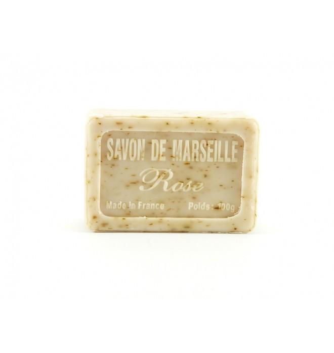 Marseillské přírodní mýdlo - 100 g -růže s květem - balené v celofánu