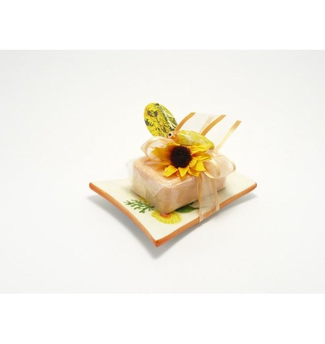 Dárkově balené marseillské mýdlo na keramické mýdlence -100g - pomeranč- skořice