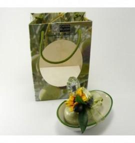 Dárkově balené marseillské mýdlo na keramické mýdlence -100g - oliva v dárkové papírové taštičce
