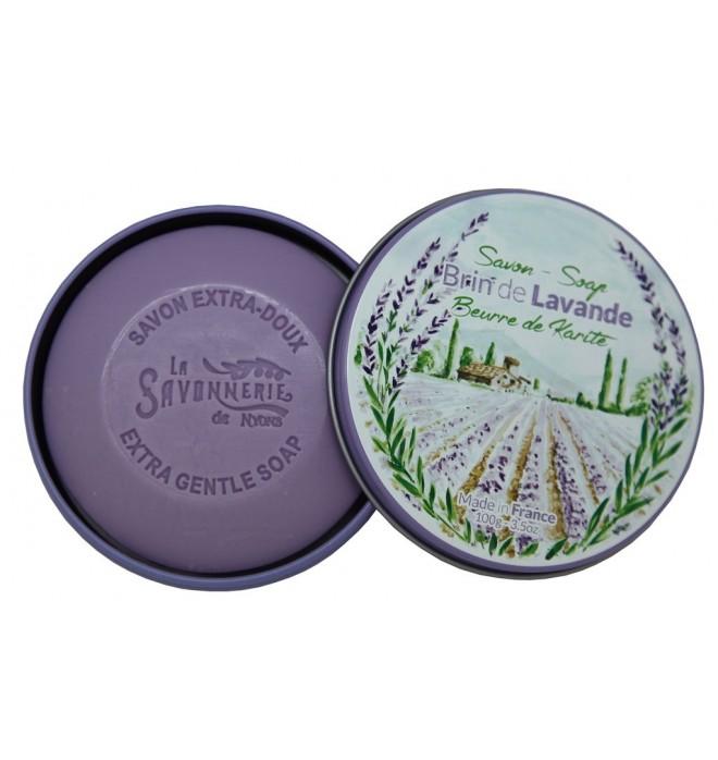 Luxusní francouzské přírodní mýdlo v kulaté plechové krabičce 100g- Snítka levandule