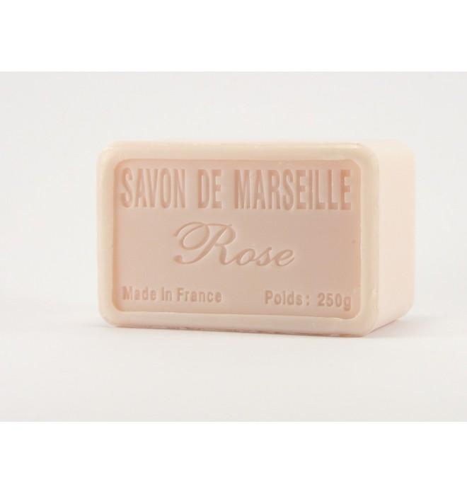 Francouzské luxusní marseillské přírodní mýdlo - 250 g- růže - balené v celofánu