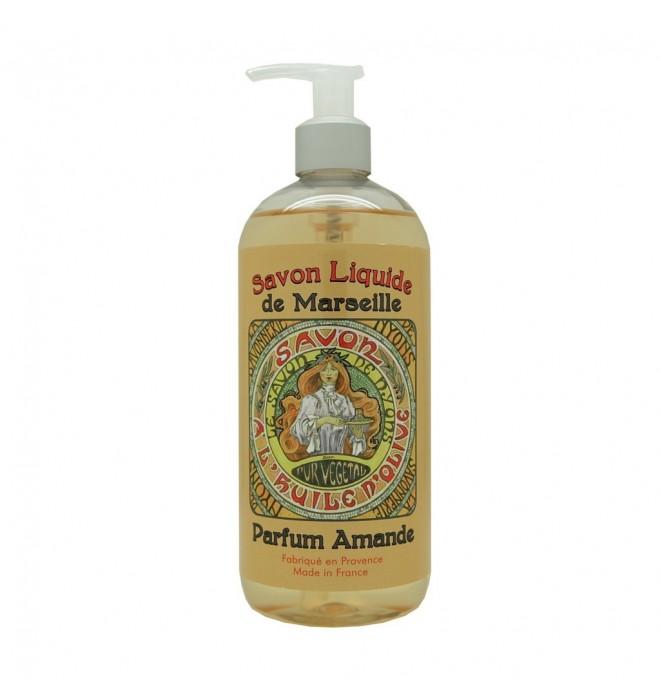Francouzské luxusní marseillské tekuté mýdlo - 500 ml - mandle - Mucha - Dívka s mýdlem - s dávkovačem