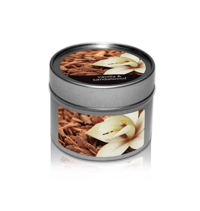 svíčka v plechovce Vanilla & Sandalwood